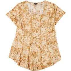 Plus Fit & Flare Golden Floral Puff Print Top