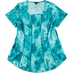 Sami & Jo Plus Fit & Flare Tie Dye Swirl Puff Print Top