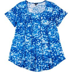 Sami & Jo Plus Fit & Flare Painted Swirl Puff Print Top