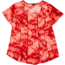 Plus Fit & Flare Tie Dye Print Top
