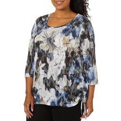 Onque Womens Embellished Floral Print Side Ruche Top