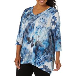 Onque Plus Mixed Floral Sharkbite Top