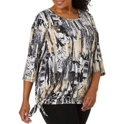 Onque Plus Mixed Print Side Tie Top