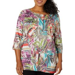 Onque Casual Plus Mixed Tropical Print Embellished Top