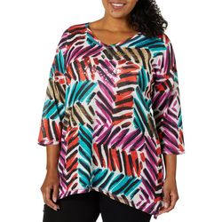 Onque Casual Plus Brushstroke Print Embellished Top