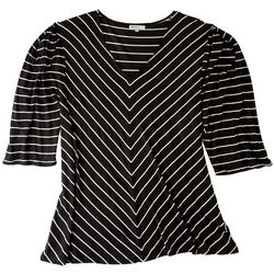 Onque Casual Plus  Strpied Print 3/4 Sleeve Top