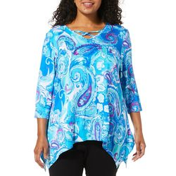 Onque Plus Embellished Paisley Print Tunic Top