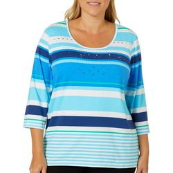 Sportelle Plus Jeweled Striped Top