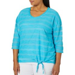Sportelle Plus Textured Stripes Tie Front Top