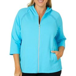 Sportelle Plus Lace Detail Zip Up Jacket