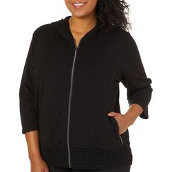 Onque Plus Lace Detail Zip Up Hooded Jacket