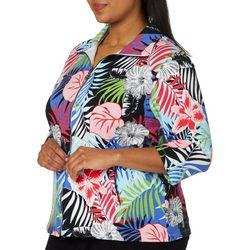 Sportelle Plus Tropical Floral Zip Up Jacket