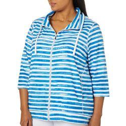 Sportelle Plus Paint Striped Zip Up Jacket