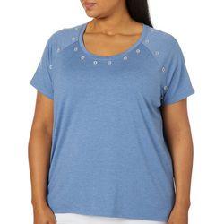 Sportelle Plus Heathered Jewel Embellished Top