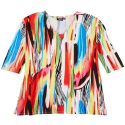 Onque Casual Plus Mid Sleeve Abstract Print Top