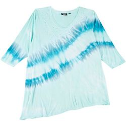 Onque Womens Plus Studded Tie Dye V-Neck Top