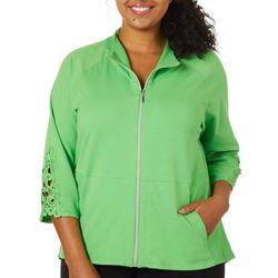Sportelle Plus Lace Sleeve Detail Zip Up Jacket
