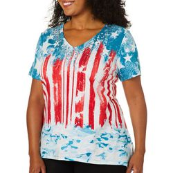 Thomas & Olivia Plus Embellished USA Flag Sharkbite Top