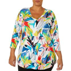 Onque Plus Embellished Abstract Floral Leaf Print Tunic Top
