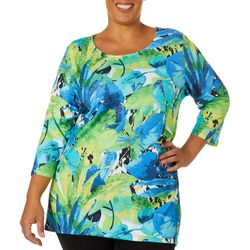 Onque Plus Embellished Tropical Palm Leaf Print Tunic Top