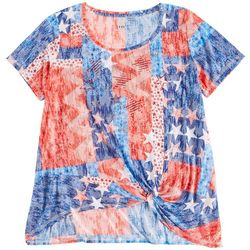 Onque Casual  Plus  Red, White, And Blue Short Sleeve