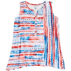 Onque Plus American Themed Striped Print Sleevless Top