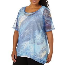 Onque Plus Printed Mesh Short Sleeve Top
