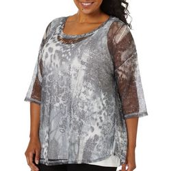 Onque Plus Printed Mesh Tunic Top