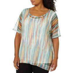Onque Plus Printed Stripe Mesh Tunic Top