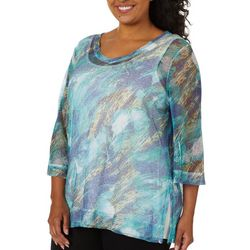 Onque Plus Printed Bell Sleeve Mesh Tunic Top