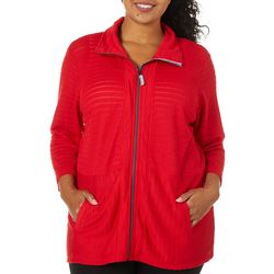 Onque Casual Plus Solid Textured Zip Up Jacket