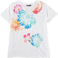 Onque Casual Plus Floral Sequin Short Sleeve Top