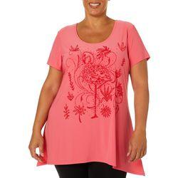Savanah Blues Plus Embellished Flamingo Top