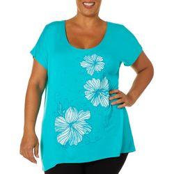Savanah Blues Plus Embellished Tropical Floral Top