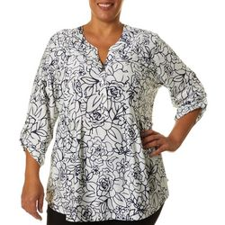 Cathy Daniels Plus Floral Pleated Roll Tab Sleeve Top