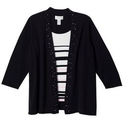 Cathy Daniels Plus Striped Jewel Embellished Duet Top