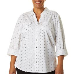 Cathy Daniels Plus Geo Dotted Button Down Top
