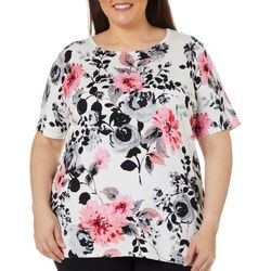 Cathy Daniels Plus Floral Jewel Embellished Top