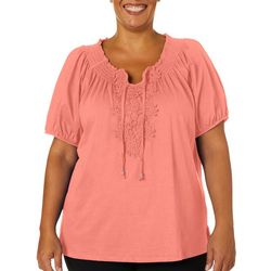 Cathy Daniels Plus Solid Daisy Embroidered Keyhole Top