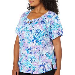 Cathy Daniels Plus Tropical Palm Leaf Top