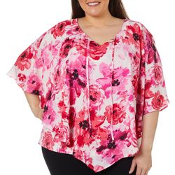Cathy Daniels Plus Floral Print Poncho Top
