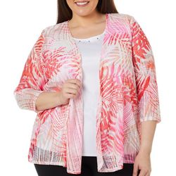 Cathy Daniels Plus Tropical Palm Leaf Print Duet Top