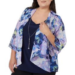 Cathy Daniels Plus Painted Floral Print Duet Top