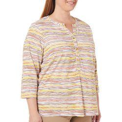 Cathy Daniels Plus Stripe Print Button Placket Top