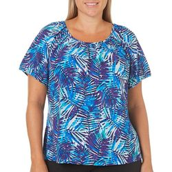 Cathy Daniels Plus Palm Leaf Print Disco Dot Top