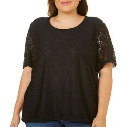 Cathy Daniels Plus Bloom Floral Lace Overlay Top