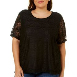 Cathy Daniels Plus Enchanting Floral Lace Overlay Top