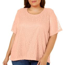 Cathy Daniels Plus Floral Lace Overlay Top