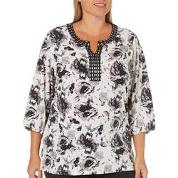 Cathy Daniels Plus Embellished Floral Print Top