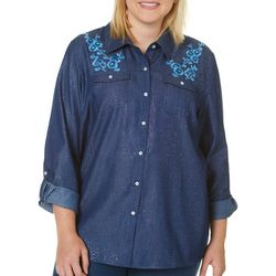 Cathy Daniels Plus Floral Embroidered Button Down Top